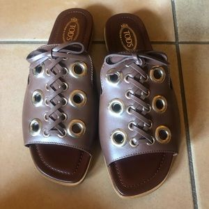 Brand new Tod's Lace-up brown sandals size 6
